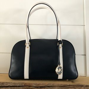 Navy and white Michael Kors purse